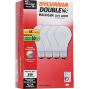 Sylvania Double Life Halogen Light Bulbs, 28W (40W Equivalent), Soft White, 4-count