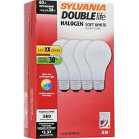 Sylvania Double Life Halogen Light Bulbs, 28W (40W Equivalent), Soft White, 4-count