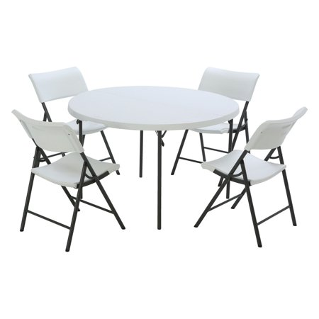 Lifetime Products 48 in. Round Fold-in-Half Table and Chair Combo ()
