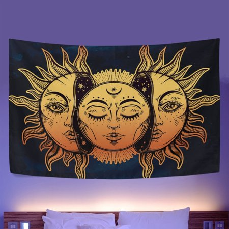 POPCreation Wall Tapestry Beautiful Moon Sun Faces Dorm Throw Bedroom Living Room Decorative Hanging 40x60 - Sun Wall Tapestry