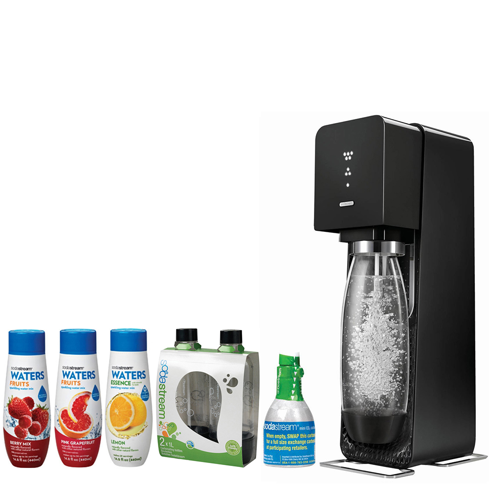SodaStream Source Home Soda Maker Starter Kit, Black, 1L Carbonating Bottles Black, water Fruits w/ Berry Mix & Pink Grapefruit Flavor  & Waters Essence w/ Lemon Flavor