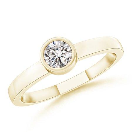 bd21573c3 Angara - April Birthstone Ring - Bezel-Set Solitaire Round Diamond  Stackable Ring in 14K Yellow Gold (3.5mm Diamond) -  SR0766D-YG-IJI1I2-3.5-6.5 - Walmart. ...
