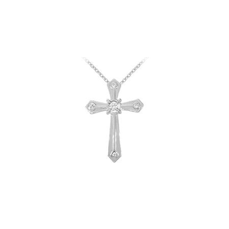 April Birthstone Cubic Zirconia Cross Pendant in 14K White Gold - image 2 of 2