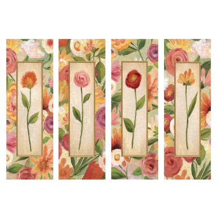 Sweet Romance Panels; Retro Red, Pink and Orange Flowers; Floral Decor; Four 8X20 Poster -