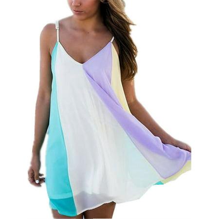 Color Block Plus Size Women Loose Summer Casual Chiffon Mini Dress