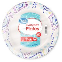 """Great Value Everyday Paper Plates, 8 1/2"""", 45 Count"""