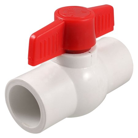 "Unique Bargains Unique Bargains 1.3"" x 1.3"" Slip Ends Two Way Ports PVC Ball Valve White Red"