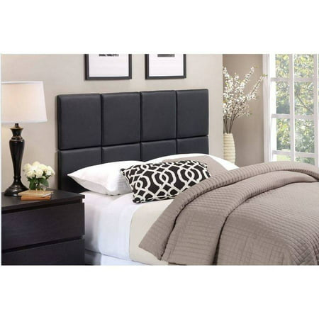 - Foremost Tessa Matte Black PU Tiled Headboard - Twin Size