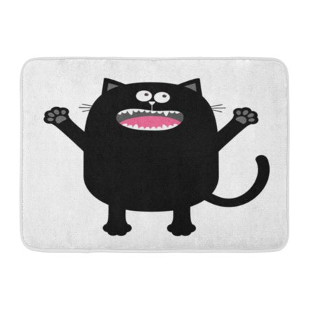 GODPOK Screaming Meowing Black Cat Silhouette Holding Hands Up Eyes Teeth Tongue Paw Cute Cartoon Kawaii Funny Rug Doormat Bath Mat 23.6x15.7 inch - Screaming Doormat