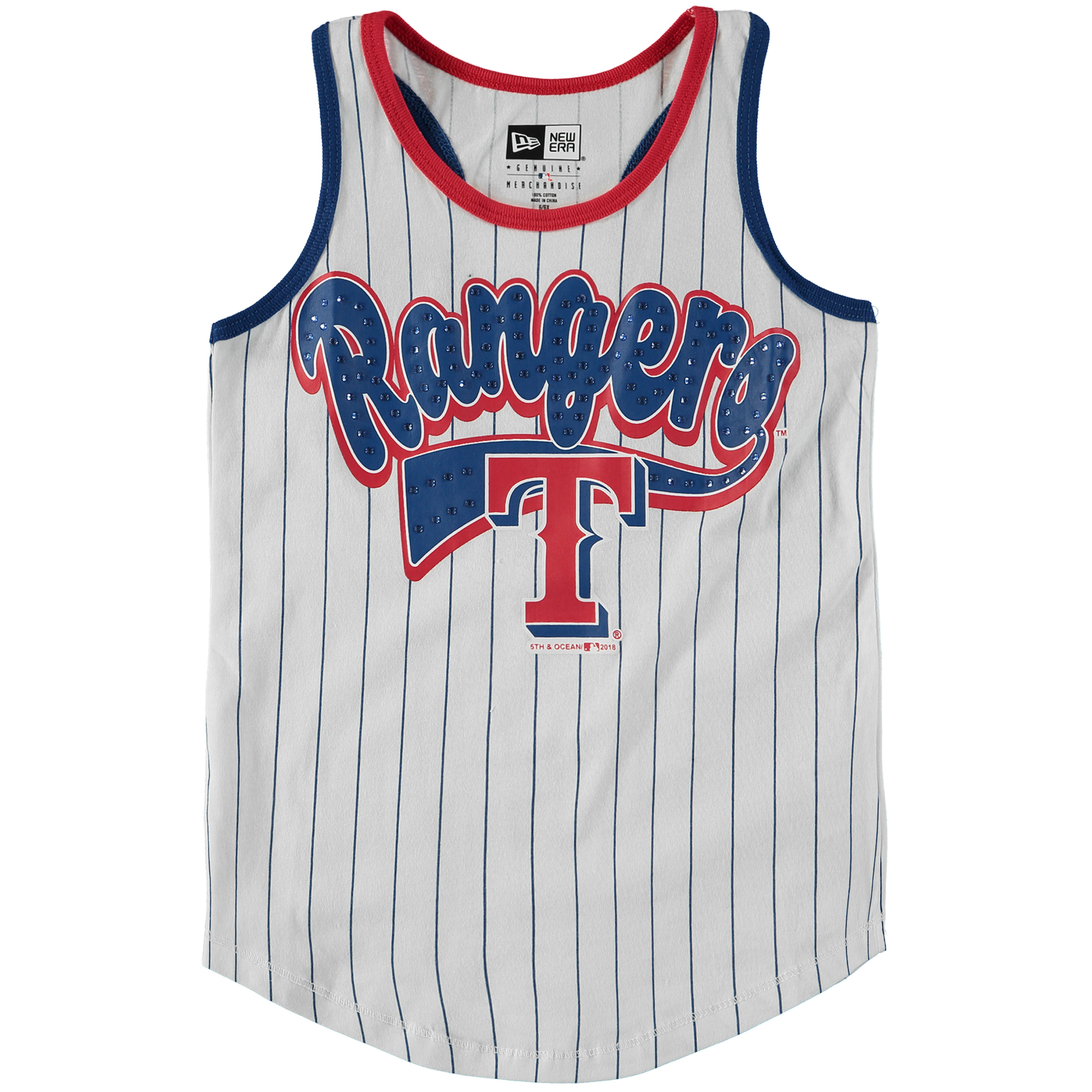 Texas Rangers 5th & Ocean by New Era Girls Youth Pinstripe Racerback Jersey Tank Top - White/Royal