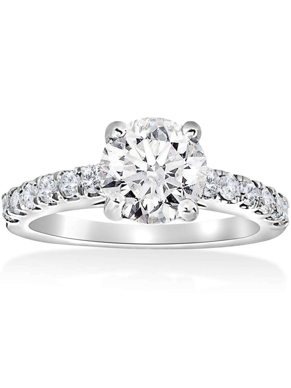 G SI 1 1 2ct Diamond Solitaire With Accents Round Engagement Ring 14k White Gold by Pompeii3