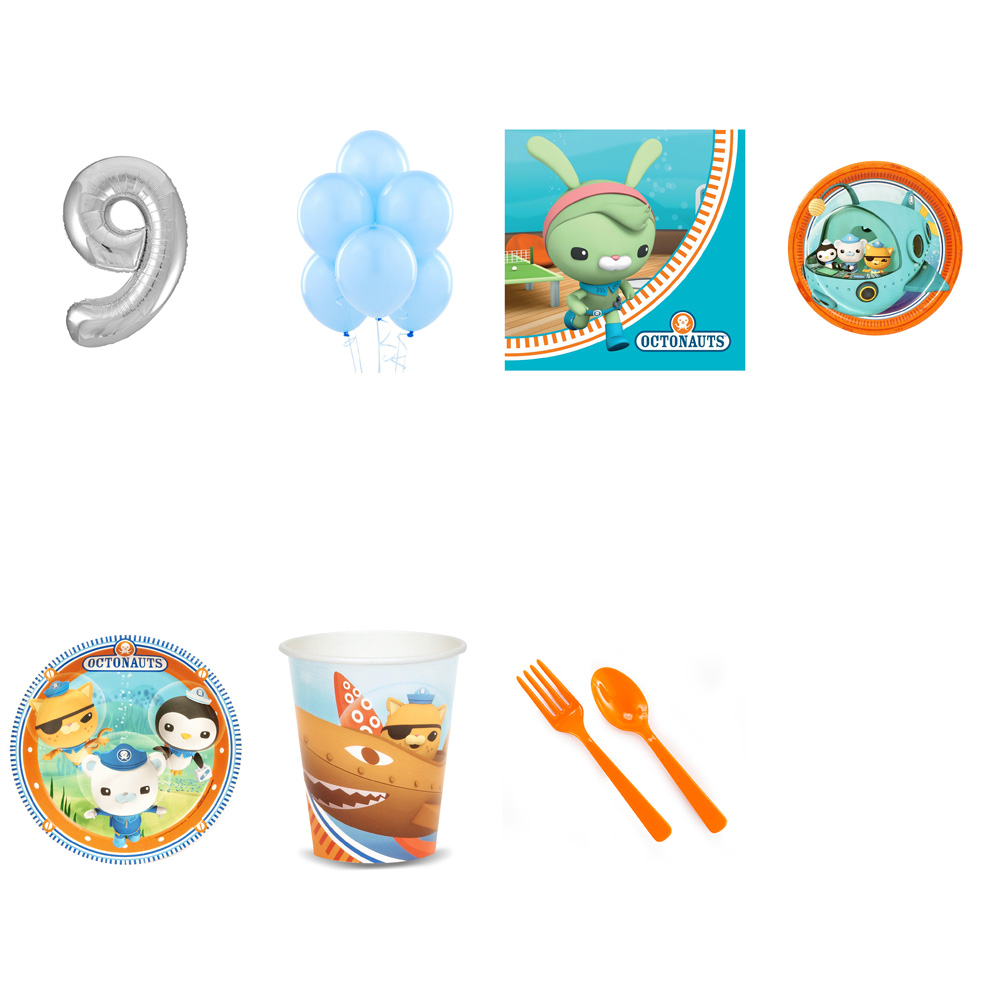 OCTONAUTS PARTY SUPPLIES PARTY PACK FOR 32 WITH SILVER #9 BALLOON