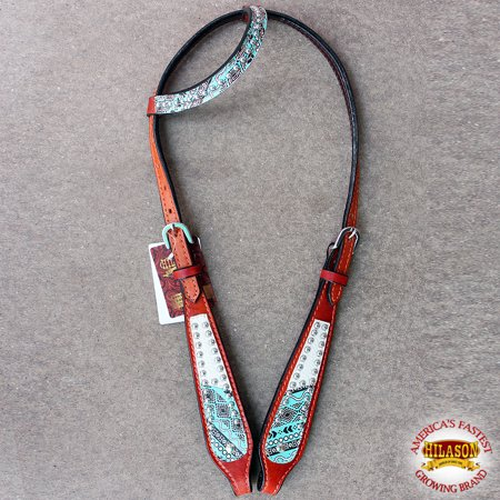 (HILASON WESTERN AMERICAN LEATHER HORSE ONE EAR BRIDLE HEADSTALL TURQUOISE)