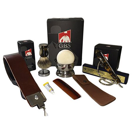 Dovo Tortoise Premium Shave Set with Gift Box - Comes with dovo razor, Gbs pure badger brush, strop, case, bowl, soap and stand