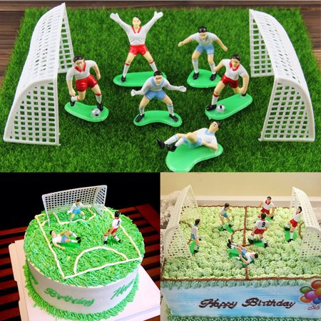 Football Cake Toppers (Cake Decorating Tools-8Pcs Vintage Soccer Football Cake Topper Player Decor Tool Birthday Mold Set Home Decoration)