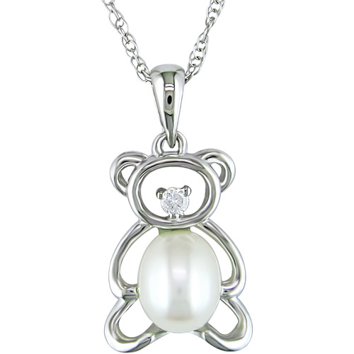 """5-5.5mm Pearl Teddy Bear and Diamond Accent 10kt White Gold Pendant, 17"""""""