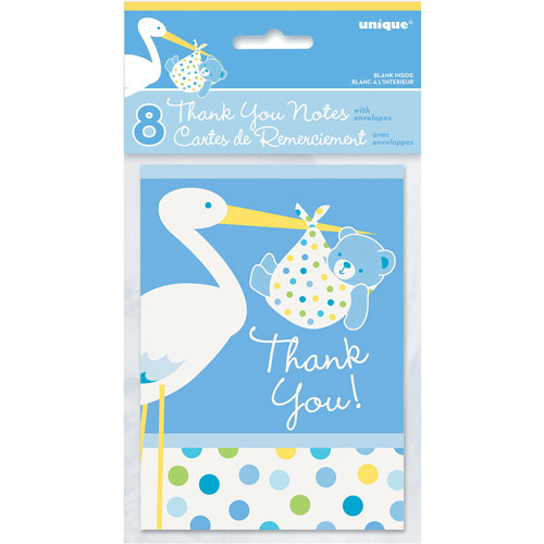 Blue Stork Baby Shower Thank You Notes, 8pk