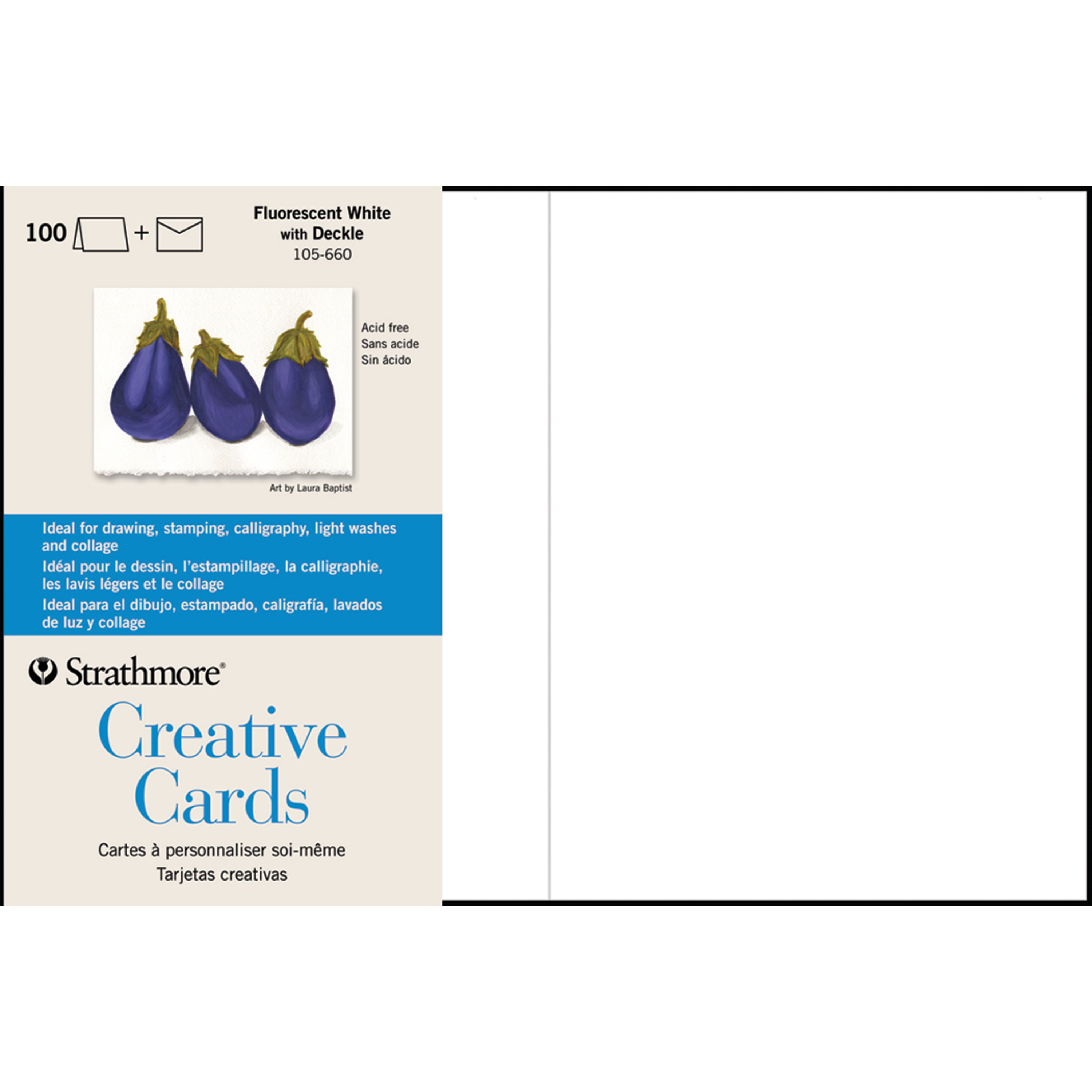 Strathmore Creative Cards, Full Size, Fluorescent White with Deckle, 100/Pkg.