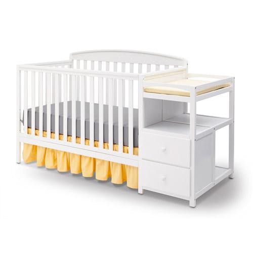 Delta Children Royal Convertible Crib N Changer White