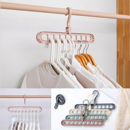 Magic Hangers - Household space saving hangers - multi-layer hangers - foldable hangers -9 hook hangers - creative hangers(5PC Pink)