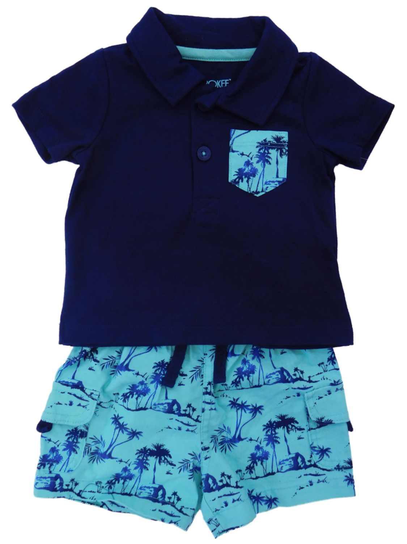 Infant Boys 2-Piece Navy/Teal Tropical Polo T-Shirt & Short Set NB