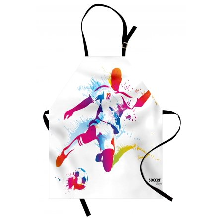 Teen Room Apron Soccer Proffesional Player Kicks Ball Watercolor Style Spray Championship Image, Unisex Kitchen Bib Apron with Adjustable Neck for Cooking Baking Gardening, Multicolor, by Ambesonne (Halloween Baking Championship)