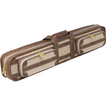 Elite ECVS48 4x8 Soft Vintage Leather Pool/Billiards Cue Case - Chestnut Foam Leather Pool Cue Case