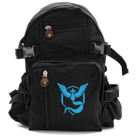 a7904ba5bb9c Grab A Smile - Pokemon Go TEAM MYSTIC Articuno Canvas Backpack Bookbag Army  School Sports Bag - Walmart.com