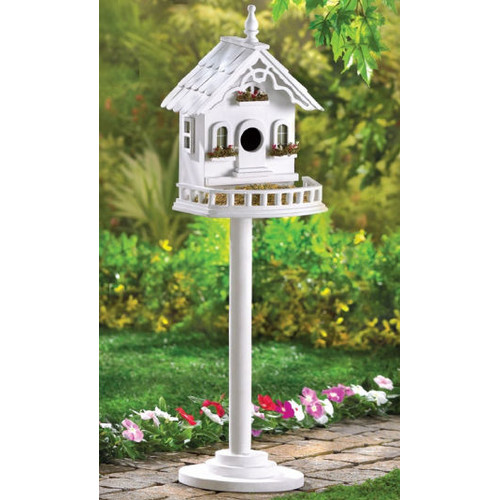 Zingz & Thingz Cape Cod Pedestal 29.5 in x 9.5 in x 8.5 in Birdhouse by Malibu