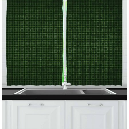 Forest Green Curtains 2 Panels Set, Spotty Pattern with Symmetric Little Dots Modern Design with Futuristic Look, Window Drapes for Living Room Bedroom, 55W X 39L Inches, Green Black, by (Light That Makes Room Look Like Forest)