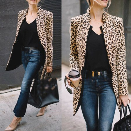 Women Long Winter Coat - Leopard Jacket Women Sweater Top Warm Casual Winter Cardigan Long Sleeve Coat
