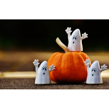 LAMINATED POSTER Ghost Happy Halloween Halloween Ghosts Pumpkin Poster Print 24 x 36](Happy Halloween Cheetah Print)
