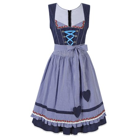 2 Pcs Oktoberfest Costume For Girl Festival French Maid Party Dresse with Apron Halloween Cosplay - French Girl Costumes