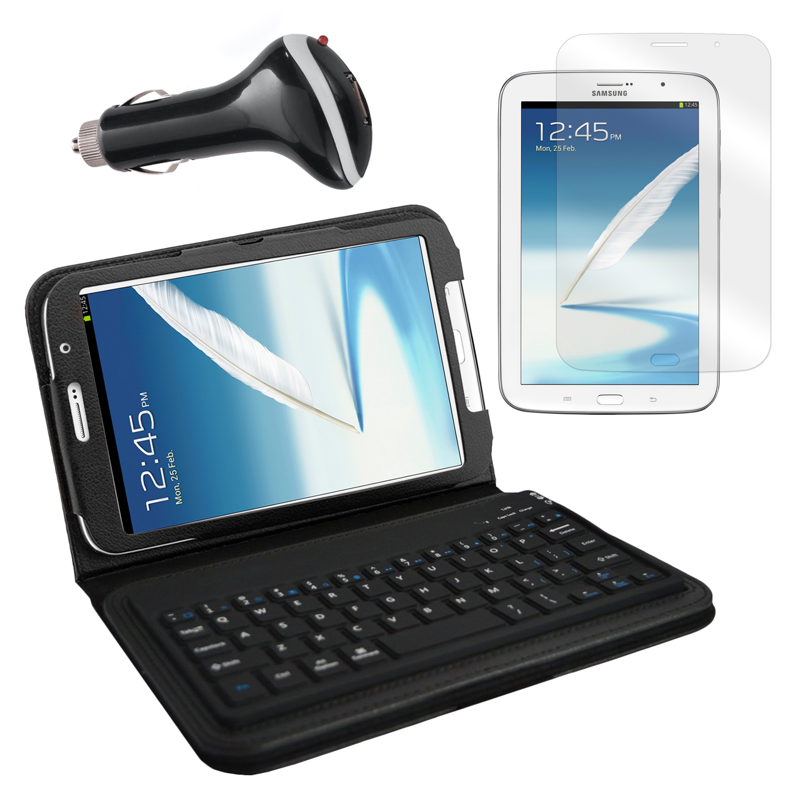 "Bluetooth Keyboard Folio with Screen Protector and Car Charger for Samsung Galaxy Note 8"" Tablet"