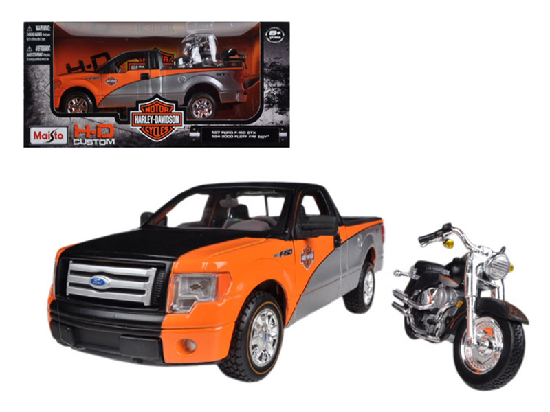 2010 Ford F-150 STX Orange Black Silver 1 27 & 1 24 Harley Davidson FLSTF Fat Boy... by Maisto