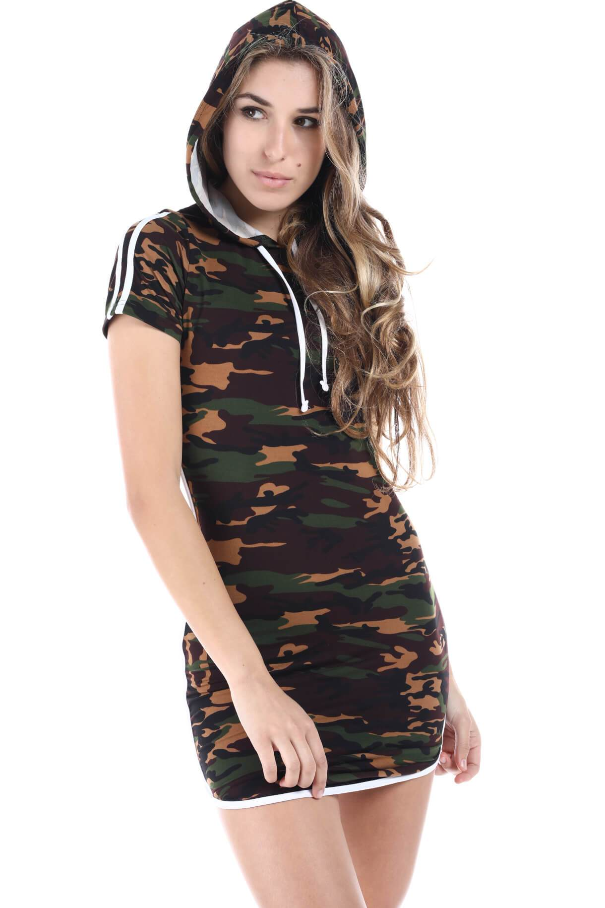 03f62f7031 JNK - Salt Tree Women's Camouflage Print Hooded Basic Stripped Dress -  Walmart.com