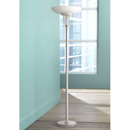 Possini Euro Design Art Deco Torchiere Floor Lamp Polished Nickel Frosted Glass Shade for Living Room Bedroom -