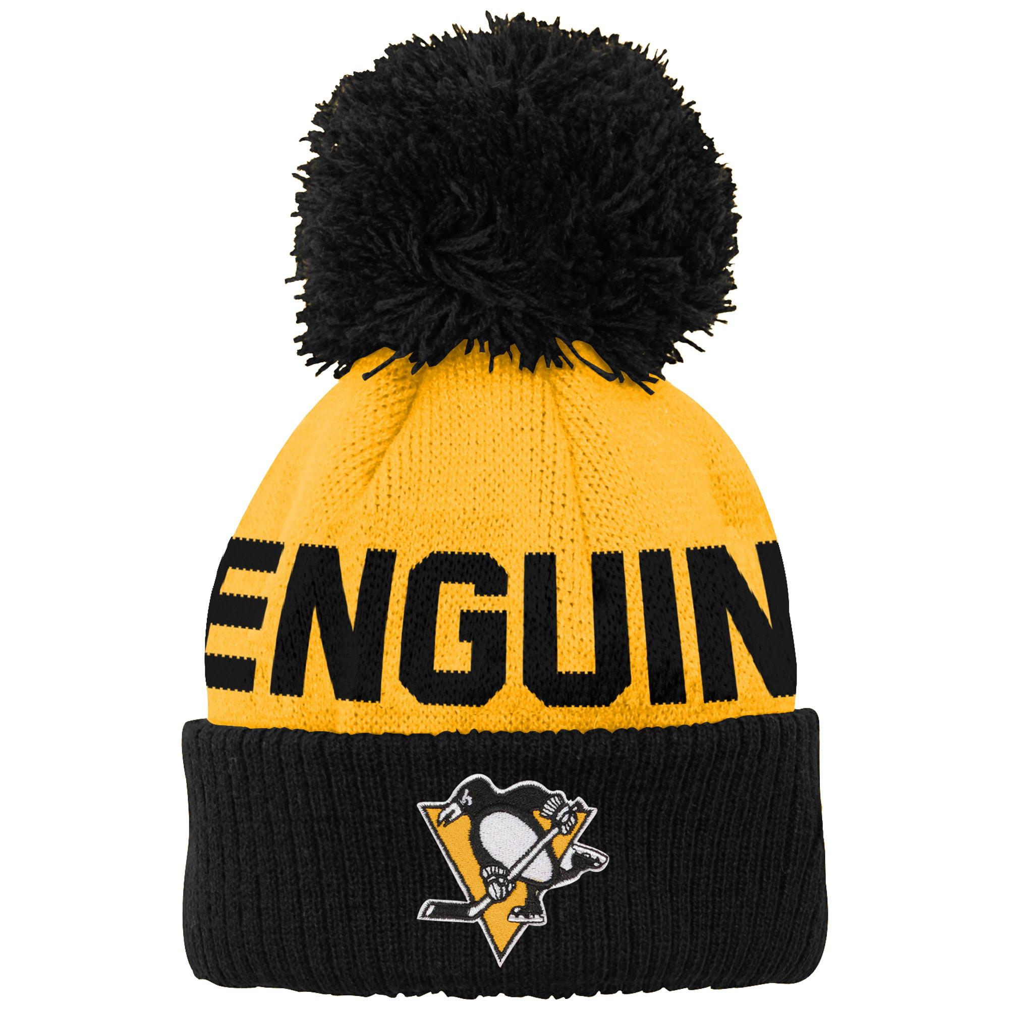 Pittsburgh Penguins Newborn & Infant Block Wordmark Cuffed Pom Knit Hat - Gold - OSFA