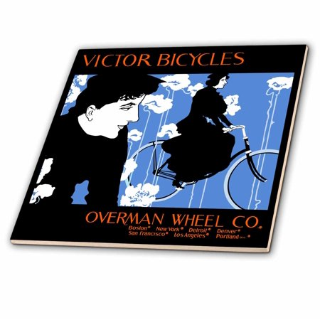 3dRose Vintage Art Nouveau Bicycle Poster by Will Bradley - Ceramic Tile, 6-inch