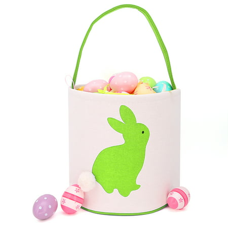 Easter Bunny Ears Basket Canvas Bags Buckets Tote Stuffers Egg Hunt for Girls and Boys -