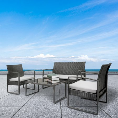 Patio Furniture Sets, 4-Piece Wicker Patio Conversation Furniture Set with 4 Seats, Table, Tempered Glass Tabletop, 3 Sofas, 3 Weather-Resistant Removable Cushions for Backyard Porch Lawn Pool ,Q1270 ()