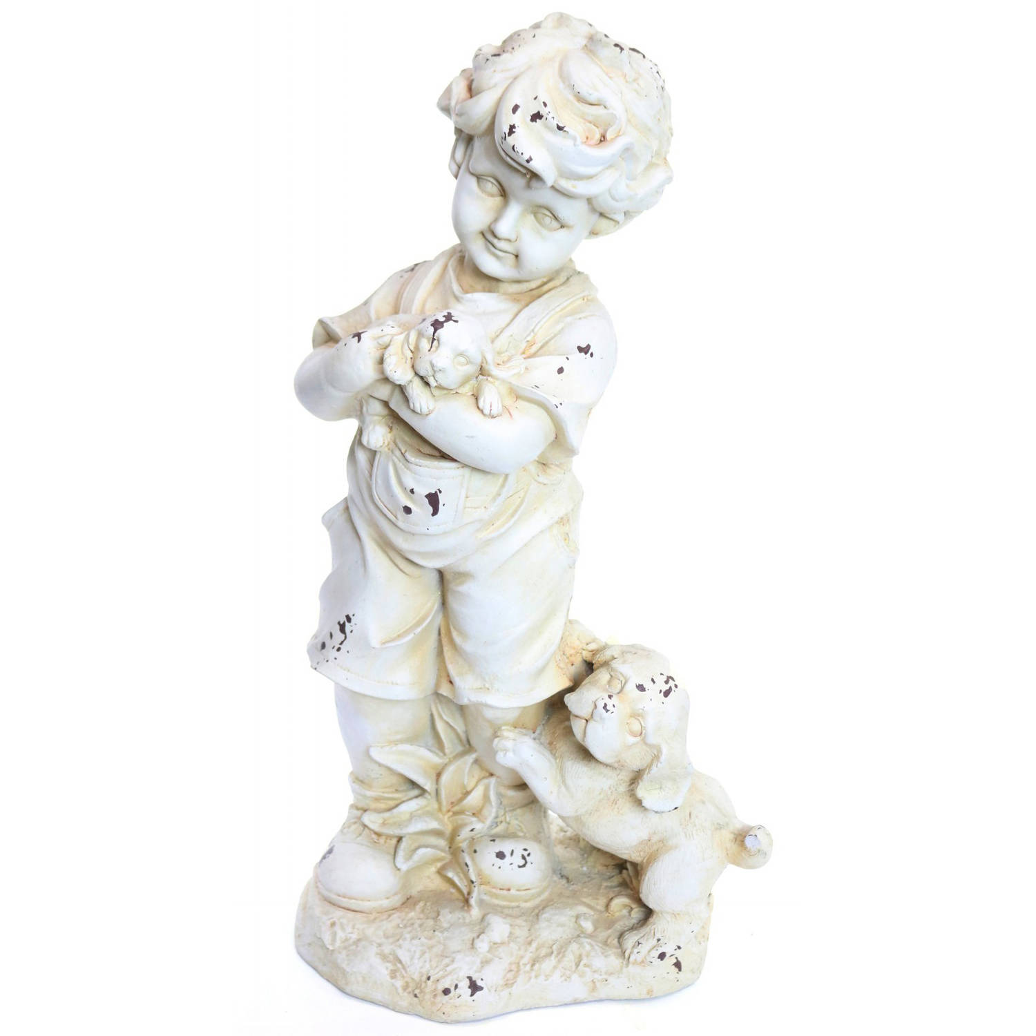 Boy and Dogs Cream Garden Statue by Alpine Corp