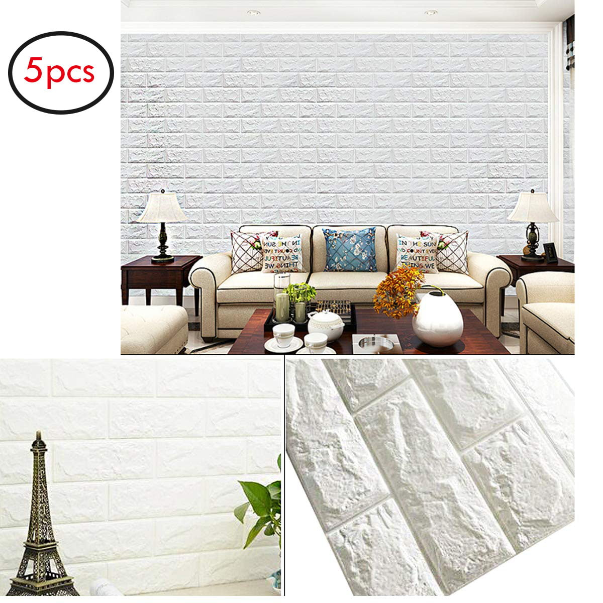 Peel And Stick Wallpaper In Bathroom: 5PCS 3D Brick Wallpaper Peel And Stick Panels Wall Decor
