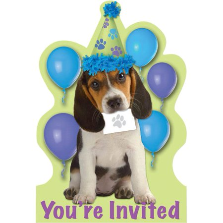 Puppy Party Invitations (8-pack) - Party Supplies - Puppy Party Supplies