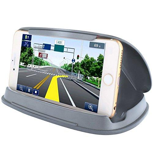 gps holder, nonslip phone holder for car, dashboard gps mounts in vehicle for garmin nuvi tomtom samsung iphone and other 3-6.8 inch gps navigation devices and smartphones-grey