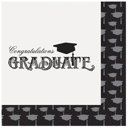 Graduation Plates And Napkins (Classic Graduation Party Napkins, 20ct, Cocktail Its Alcohol Black Count Drink Champagne CLASS Favors Dinner SIGN Pack Bowl Story Plates Ever.., By)