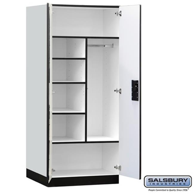 Salsbury 3274GRY Designer Wood Storage Cabinet Combination - 76 Inches High - 24 Inches Deep - Gray