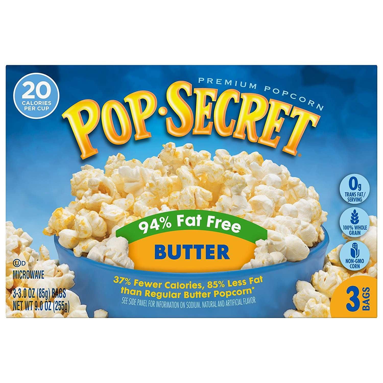 pop secret microwave popcorn 94 fat free butter 3 oz 3 ct walmart com