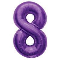 """Northstar Number 8 Eight Shape Solid Jumbo Helium 34"""" Foil Balloon, Purple"""