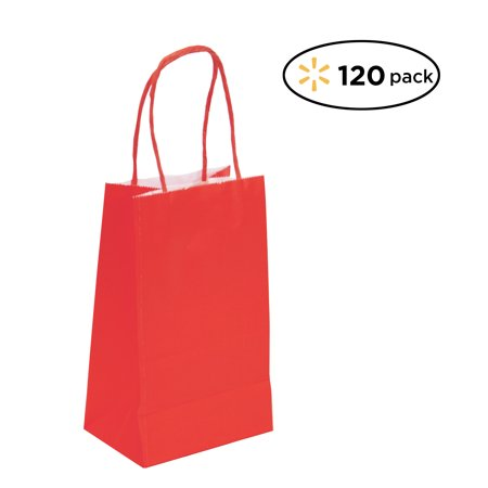 Red Gift Bags (120 Pack Small Red Kraft Bag, Gift bag, Biodegradable, FOOD SAFE INK & PAPER(STURDY & THICKER), Gift)